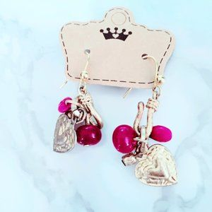 Magenta and Gold Tone Heart Earrings